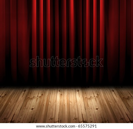 red curtain with oak floor - stock photo
