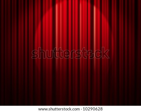 Red curtain with spotlight.