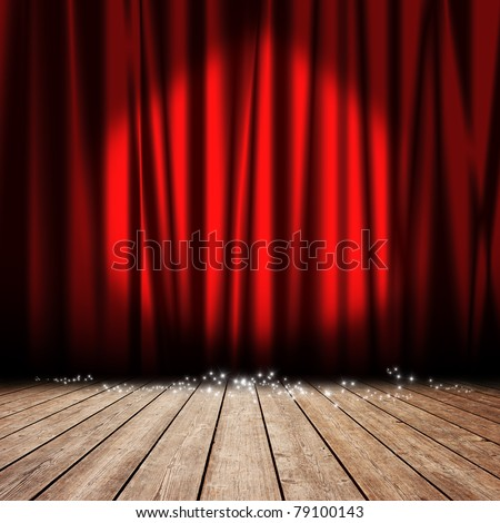 Red curtain with spotlights and stars - stock photo