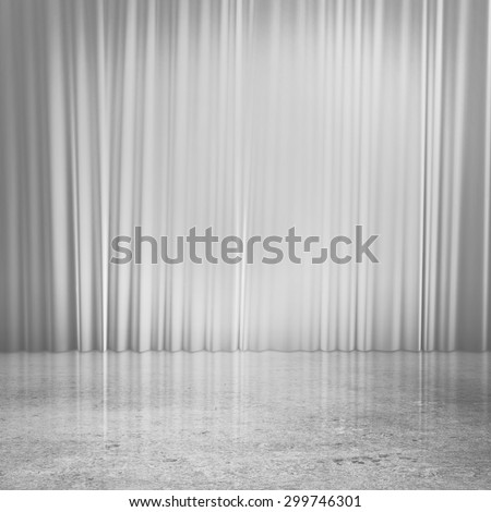 red curtains and concrete floor - stock photo