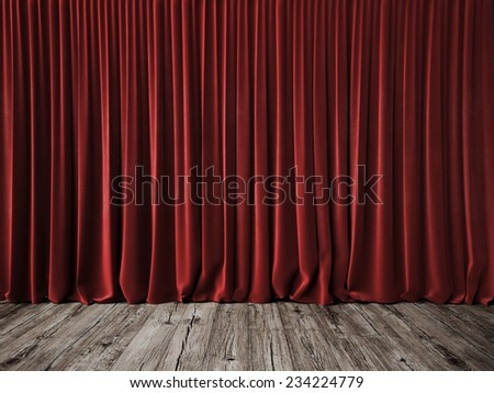 Red curtains and vintage wood floor - stock photo