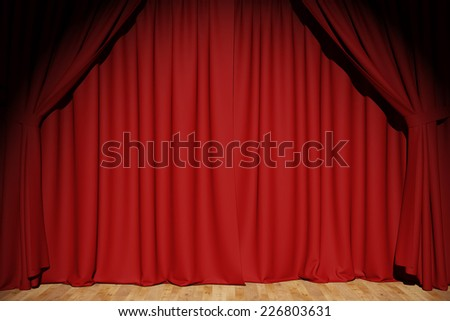 Red curtains background on a stage in a theater (3D Rendering)