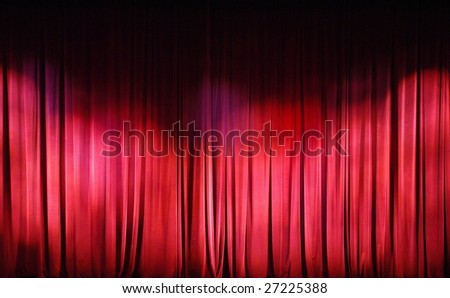 Red Curtains background. Theater curtains background - stock photo