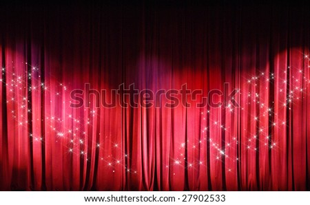 Red Curtains background. Theater curtains background. - stock photo