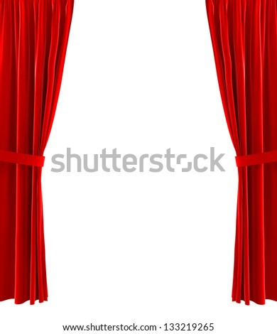 Red curtains. 3d illustration on white background - stock photo