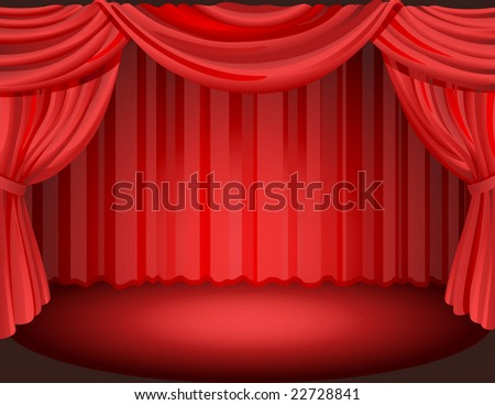 Red curtains on a stage.