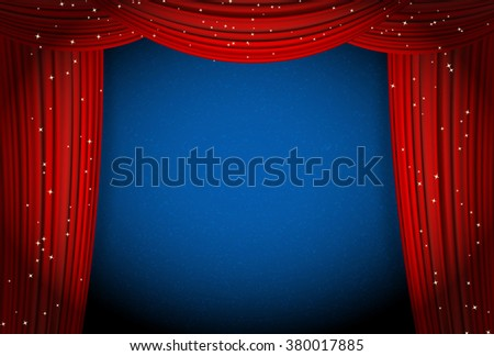 red curtains on blue background with glittering stars. open curtains as theater or movie presentation or cinema award announcement with space for text. raster - stock photo