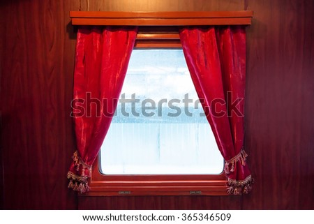 Red curtains on the window isolated on white. Drapes from ancient train - stock photo