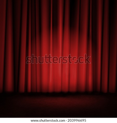 Red curtains on theater or cinema stage  - stock photo