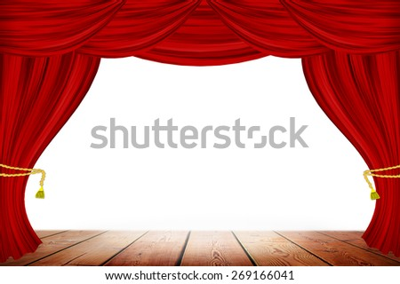Red curtains on white wall background - stock photo