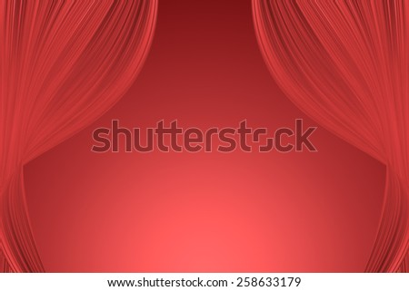 Red curtains opened to the stage. - stock photo