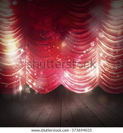 Red curtains theater - stock photo