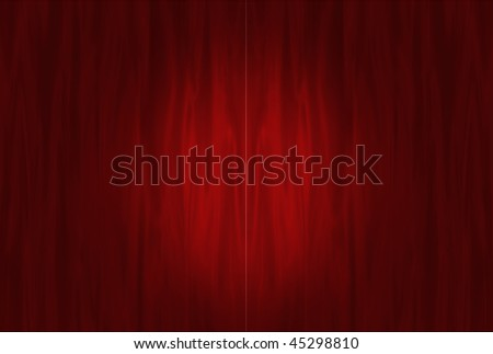 Red curtains waiting to open with spotlight circle - stock photo