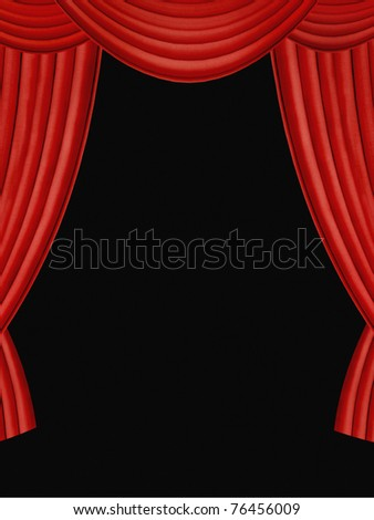Red curtains with black background - stock photo