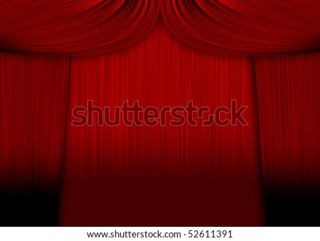 Red curtains with sadows over another red curtains - stock photo