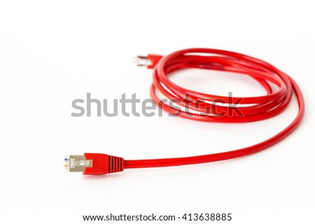 Red curved network cable on white background. RJ45 connector.  - stock photo