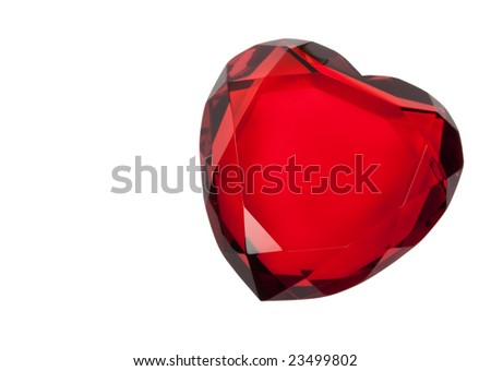 Red cut glass heart paperweight isolated on white with clipping path