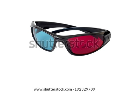 Red cyan glasses on white background  - stock photo
