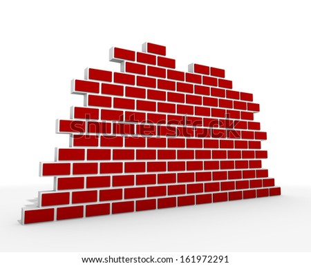 red 3d brick wall - stock photo