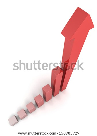 Red 3D business rising graph with growing up arrow - stock photo
