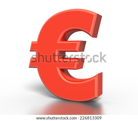 Red 3D euro symbol isolated white background