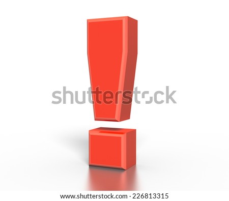 Red 3D exclamation mark , isolated on white - stock photo