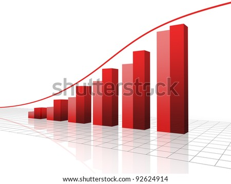 Red 3 d graph - stock photo