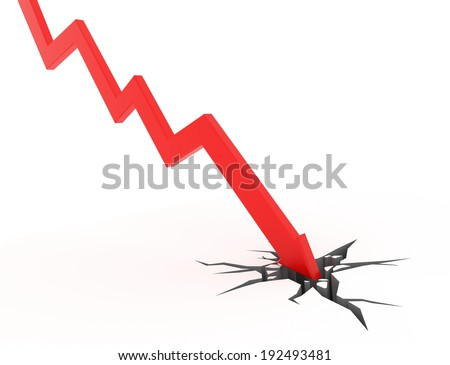 red 3d graph arrow breaking through the ground - stock photo