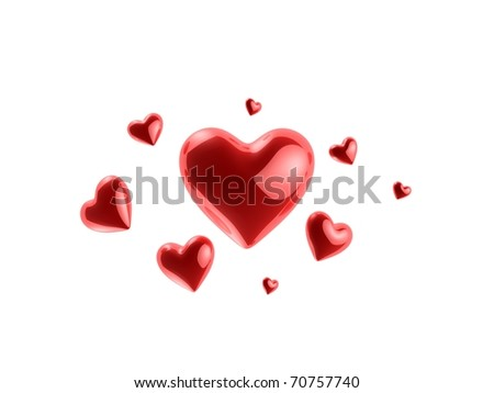 red 3d heart - stock photo
