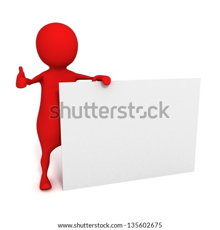 red 3d man thumbs up with a empty business card on white background - stock photo