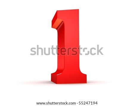 red 3d number 1 - stock photo