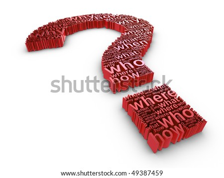 Red 3d question mark made up of words on a white background - stock photo