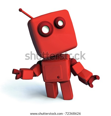 Red 3D robot looking aroud, isolated on white background - stock photo