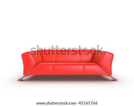 Red 3d sofa, isolated on a white background - stock photo