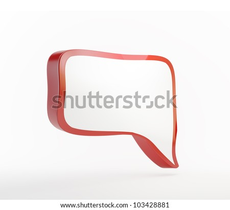 Red 3d speech bubble isolated on white - stock photo
