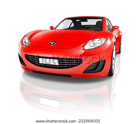 Red 3D Sports Car - stock photo