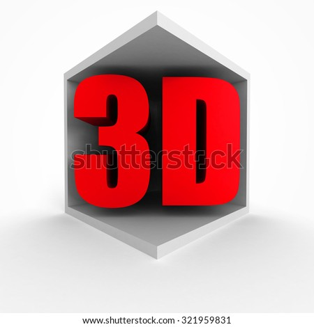 Red 3D Symbol In Cube On White Background. 3d Render Illustration - stock photo