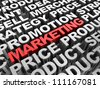 Red 3d �¢??text business in the center of grey words - stock photo