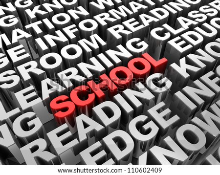 Red 3d �¢??text school word in the center of grey another words