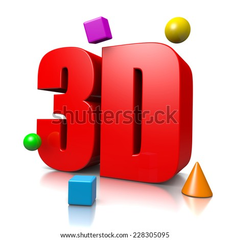 Red 3D Text with some Three Dimensional Objects Illustration on White Background, 3D Concept - stock photo