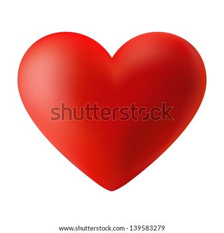 Red 3d valentine heart, raster illustration - stock photo