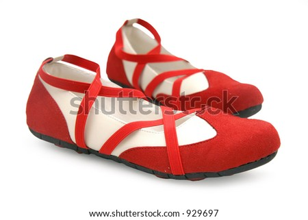 Red dance shoes with a white background