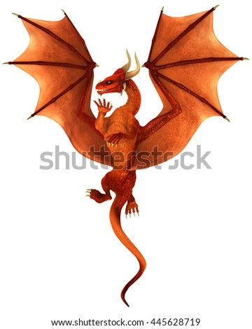 Red dancing dragon isolated on white background 3d illustration - stock photo