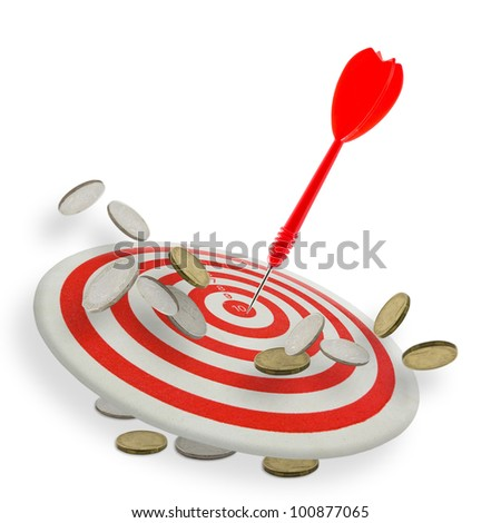 Red dart hit the center of dartboard with many coins - stock photo