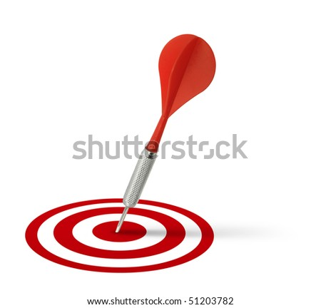 Red dart hitting target center on white background isolated
