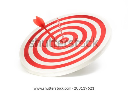 Red dart miss target isolated on white background - stock photo