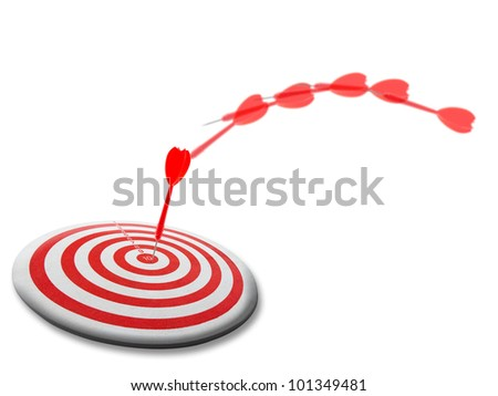 Red dart moves to the target - stock photo