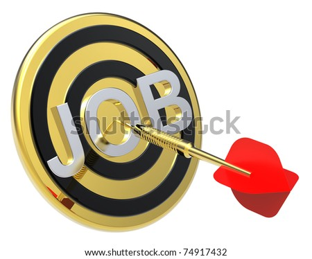 Red dart on a gold target with text on it. Concept for job recruitment or career. Computer generated 3D photo rendering. - stock photo