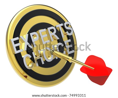 Red dart on a gold target with text on it. The concept of selecting a good product. Computer generated 3D photo rendering. - stock photo