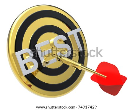 Red dart on a gold target with text on it. The concept of the best reviews and best choice. Computer generated 3D photo rendering. - stock photo